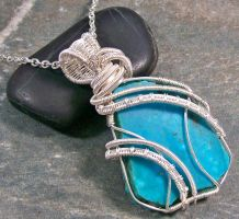 Kingman Turquoise and Silver Coil Cascade Pendant by HeatherJordanJewelry