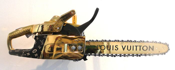 gold louis vuitton chainsaw by peter-gronquist