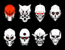 skull masks by oldpantymachine