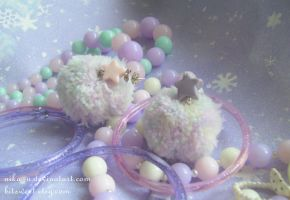 Fun-Kei Space Pompom Meteor earrings by Nika-N