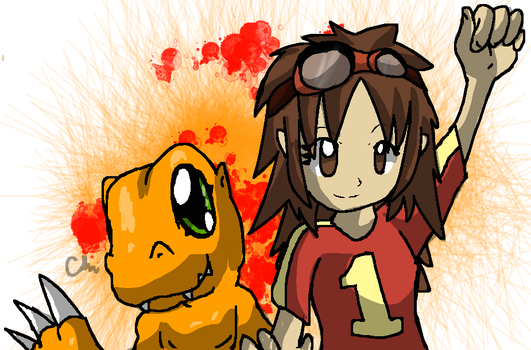 Digimon 2.5 FA - CherrygirlUK19's Dawn and Agumon by cmaynes47