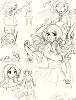 Sketch dump - Orihime the Sorceress by BitterSweetNitemare