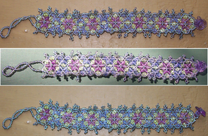 Purple Flowers Beaded Bracelet by CaraMom2007