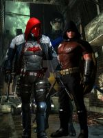 Nightwing,Red Hood, and Robin by ArkhamNatic
