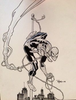 Spider-man on a pole by RyanOttley