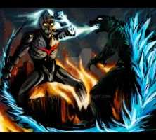 Commish: Ultraman vs. Godzilla by OrangeCurl