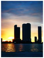 Night falling on Miami Beach by Crazito
