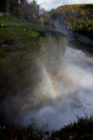 Letchworth State Park - rainbow at middle falls by FrodoPrime