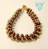 Brown and Gold Raw Bracelet with Overlay by TheSortedBead