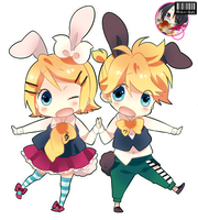 Render chibi rin y len kagamine by Mikii-Gdl