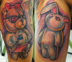 bear  and bunny tattoos by ODIETATTOO