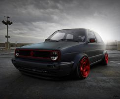 golf mk2 i like red with black by hugosilva