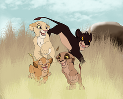 Lion Cubs in the Savannah by sjsaberfan