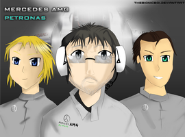 MERCEDES GP F1 team anime by THEBIONICBOI