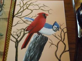 Blue Jay and Cardinal Among Each Other by RavensSongOfLove