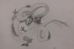 Sketching for fun - Chinese Dragon by RavenousFire