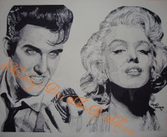 Elvis and Marilyn Pointalism by Alydots