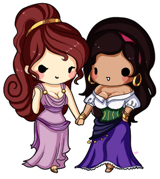 Megara and Esmeralda by Yoshiebutt