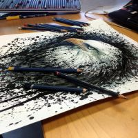 Eagle Splatter Drawing ( progress ) by AtomiccircuS