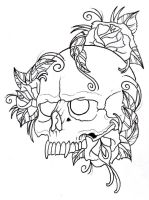 Skull and Roses Outline by vikingtattoo