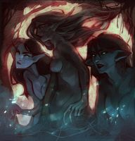 Forest witches by Warallin
