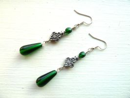 Emerald glass earrings by Lincey