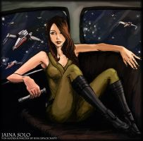 Jaina Solo Portrait art trade by spacecraft