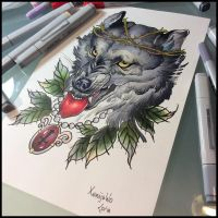 Tattoodesign -Wolf by Xenija88