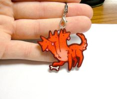cute acrylic cerberus charm, puppy dog charm 1.5 i by michellescribbles