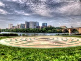 Labyrinth, Rosslyn and the Key Bridge by jim88bro