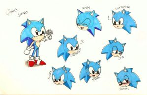.:Classic Sonic:. Expressions by SuzyHadow