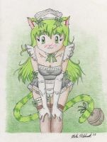 Green Neko by SketchbookBoy