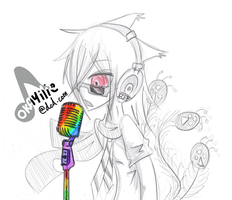I'm Singing with a Rainbow Mic by atlas-rabbit