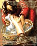 Jesus Washes Disciple's Feet by GiantMosquito