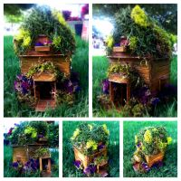 Popsicle sticks and moss cottage by VoodooDollyArtwork