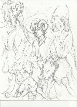 Sole and His Hounds Rough by Gods-black-wings