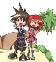 Sora and Kairi by spuds-n-stuff