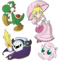 Yoshi+Peach+Metaknight+Jiggly by StacMaster-S