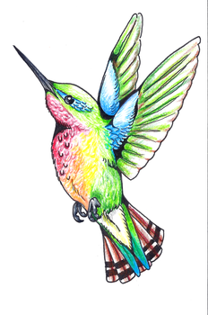 Hummingbird Tattoo Design by DharmaNow