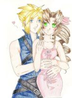 Cloud and Aerith by Kelly-ART