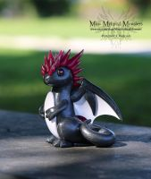Graphite, White and Pink Dragon by MiniMythicalMonsters