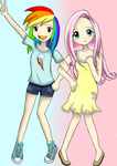 Human Rainbow Dash and Fluttershy by AST-R