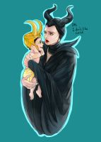 Maleficent and child Loki by fonin
