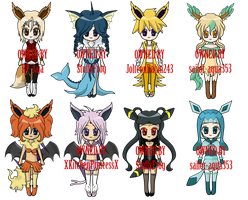 Gijinka Eeveelutions (1 LEFT) by sihi-chan