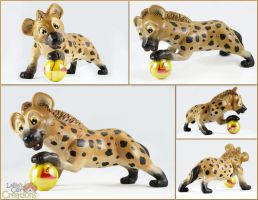 Hyena Pup with Marble by LeiliaClay