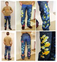 'Crazy aquarium' trousers by Flincus