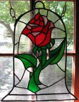 Beauty and the Beast Rose Stained Glass by AutobotWonko