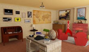 Tintin's Room - 3D SketchUP (Left View) by NatyBarbosa