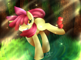 among the apple trees. by Polkadot-Creeper