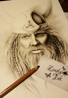 Viking drawing in the making by Zindy